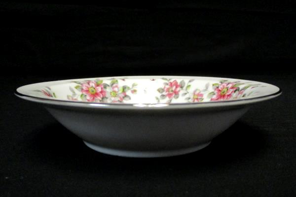 "Set of 4 Dessert Bowls 5.5"" Spring Time China White Platinum Gilt Primrose Vines"