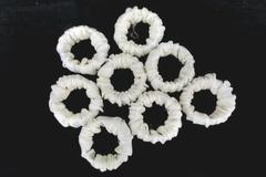 Set of 8 Vintage Napkin Rings White & Ivory Cloth Shiny Floral Imprinted Scrunch