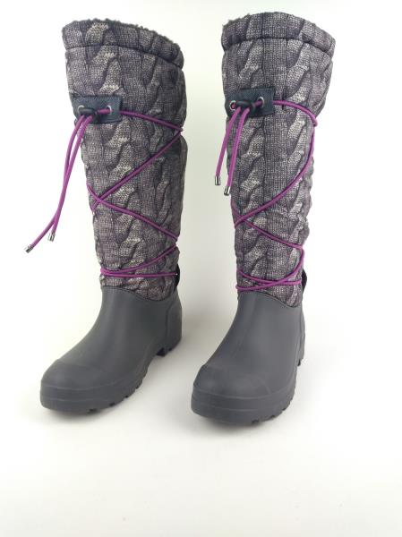 DIRTY LAUNDRY Gray Powder Cable Knit Puffer Boot Rubber Winter Faux Sherpa Sz 9