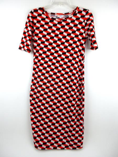 "LULAROE ""Julia"" Bodycon Dress Black Red White Mod Geo Cube Print Sz XS"