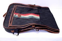 Vintage LARK Suit Dress GARMENT BAG Suitcase Black with Brown Trim & Handles