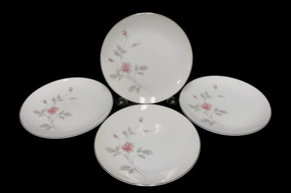 "Set of 4 Royal Song #5442 ""Remembrance"" Platinum Gilt Bread Plate 6.5"""