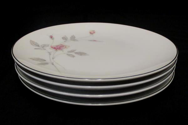 "Set of 4 Royal Song #5442 ""Remembrance"" Platinum Gilt Breakfast Plate 7.5"""