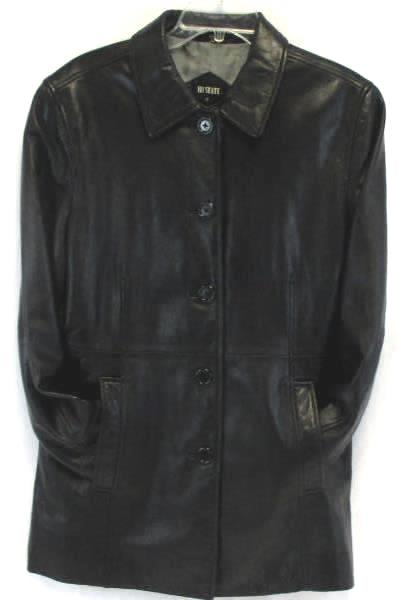 111 State Women's Button up Leather Jacket Black Size Medium