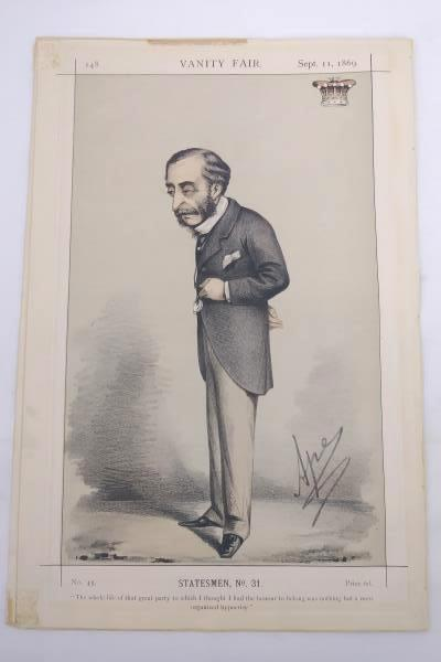 Original Color Lithograph Vanity Fair Statesmen #31, Lord Carnarvon 09/11/1889