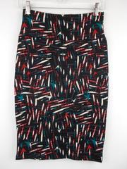 "LULAROE ""Cassie"" Pencil Skirt ~ Black 80's Abstract Print~ Polyester Crepe Sz XS"
