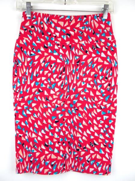 "LULAROE ""Cassie"" Pencil Skirt ~ Pink Geometric 80's Print~ Polyester Crepe Sz XS"