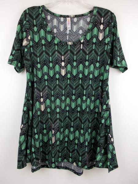 """LULAROE """"Perfect T"""" Flared Tunic Dress Blue Green Geo Art Deco Print ~ Sz XXS"""