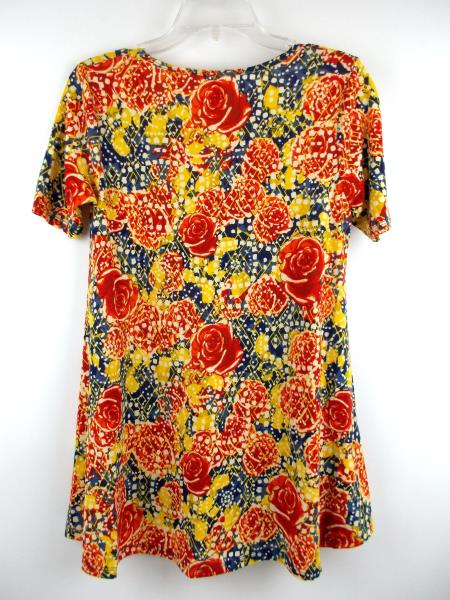 "LULAROE ""Perfect T"" Flared Tunic Dress Blue Red Yellow Rose Floral Print Sz XXS"