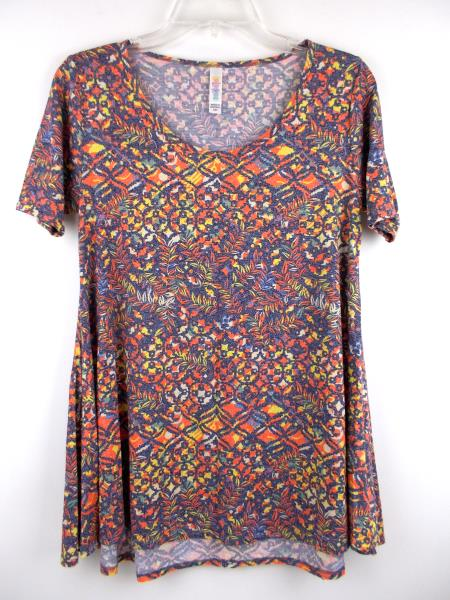 "LULAROE ""Perfect T"" Flared Tunic Dress Blue Tribal Floral Static Print ~ Sz XXS"