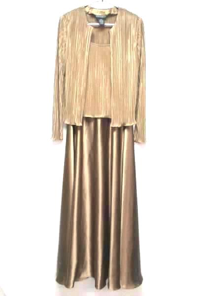Cachet Bronze Formal Two-Piece Gown Size 10 Gorgeous Floor-Length