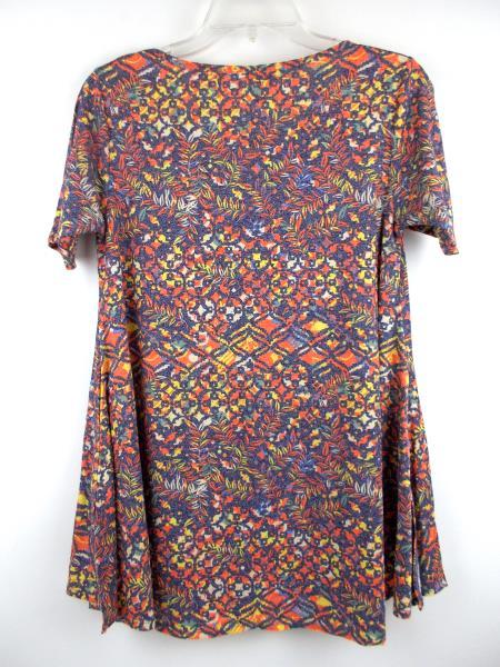 """LULAROE """"Perfect T"""" Flared Tunic Dress Blue Tribal Floral Static Print ~ Sz XXS"""