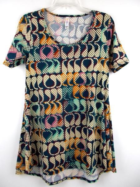 "LULAROE ""Perfect T"" Flared Tunic Dress Blue Abstract Paisley Print ~ Sz XXS"