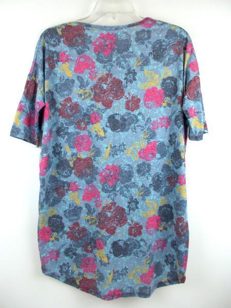 """LULAROE """"Irma"""" Oversize Tunic Top 3/4 Sleeve Blue Floral Print Sz XXS"""