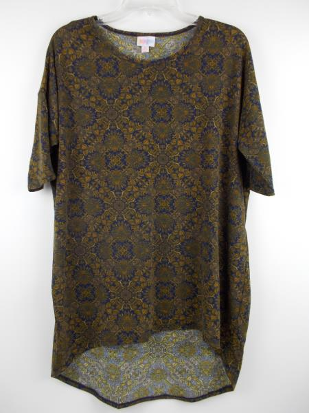 "LULAROE ""Irma"" Oversize Tunic Top 3/4 Sleeve Navy Blue & Gold Damask Print Sz XS"