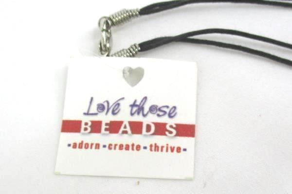 Love Those Beads Neutral Beaded Butterfly Necklace Leather Cord Stocking Stuffer