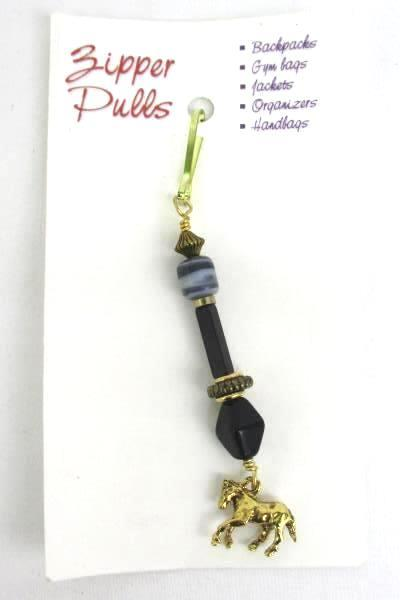 Love Those Beads Black Gold Beaded Horse Zipper Pull Stocking Stuffer Equestrian