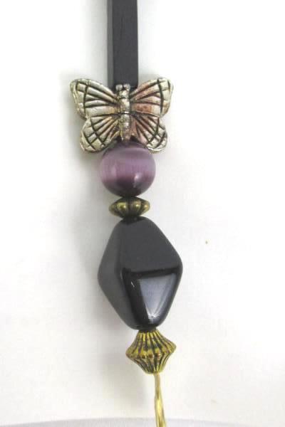 Love Those Beads Black Gold Beaded Butterfly Swirl Zipper Pull Stocking Stuffer