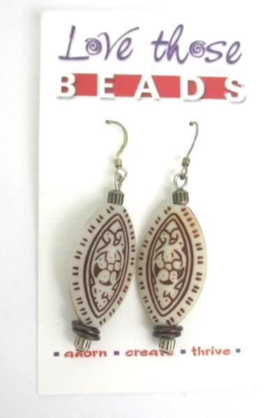 Love Those Beads Natural Tone Beaded Necklace Earrings Set Mandala Almond Shape