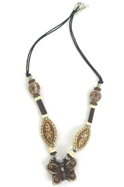 Love Those Beads Natural Tone Beaded Necklace Earring Set Butterfly Almond Shape