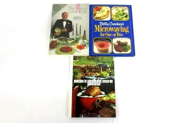 Lot of 3 Vintage Cookbooks First Gentleman's Microwaving Webster's Barbecue