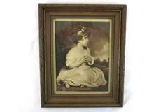"Vintage Framed Print The Age of Innocence by Reynolds The Mentor 11.5"" x 9.5"""