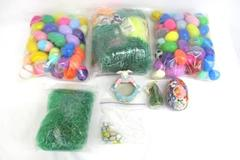 Large Lot of Easter Decor & More Plastic Easter Eggs Grass Mini Ornaments Tin