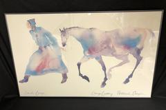 "24"" x 39"" Framed Watercolor Print by Carol Grigg of a First Nations Woman & Pony"