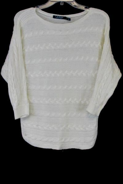 Ralph Lauren Women's Sweater Cream Cable Knit Batwing Sleeve Size Small
