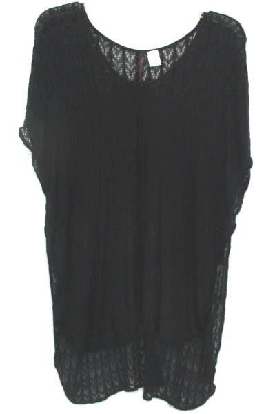 Absolutely Creative World Wide Women's Black Open Knit Shirt Size Medium