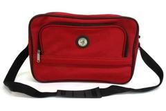 2 pc Carry On American Trunk & Case Red Shoulder Bag & Makeup Shave Case