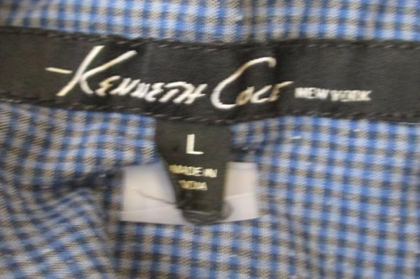 Men's Casual Button Up Shirt Blue Plaid by Kenneth Cole New York Size L
