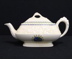 Vintage Crown Ducal Gainsborough Teapot Blue Pansy England Rectangular
