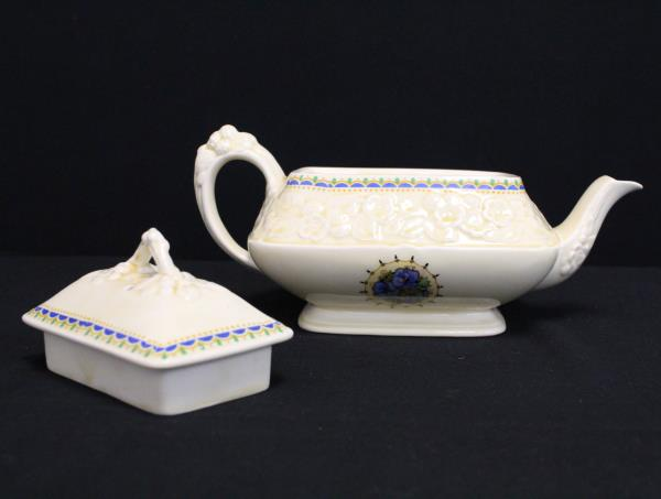 Vintage Crown Ducal Gainsborough Teapot Blue Pansy England Rectangular