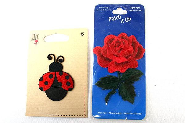 Lot Of Three Rolls Of Excell Thread And Rose And lady Bug Appliques