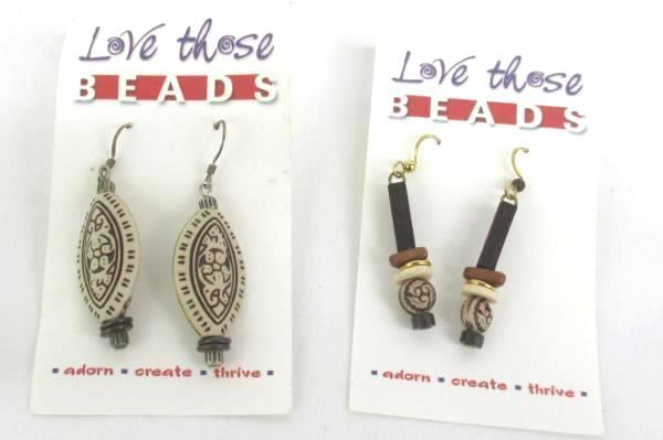 2 Love Those Beads Earrings Natural Bohemian Dangle Pierced
