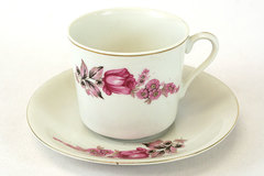 Porcelain Cup & Saucer Pink Rose Design Made In Japan