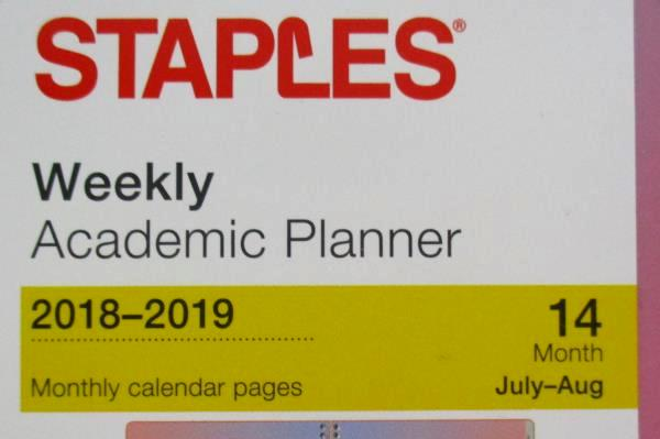 Staples Weekly Academic Planner Spiral Bound 2018-2019 Lot Of 2