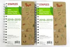 Staples Weekly Academic Planner Spiral Bound 2018-2019 Lot Of 2 Recycled Paper