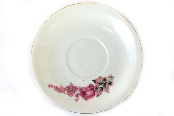 Porcelain Tea Cup & Saucer Pink Rose Design Made In Japan