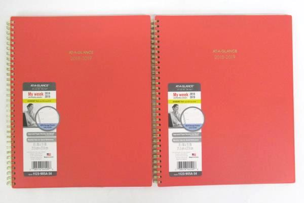 "2 NEW At-A-Glance Academic 2018-19 Planner My Week 8.5"" x 11"" Salmon Gold Letter"