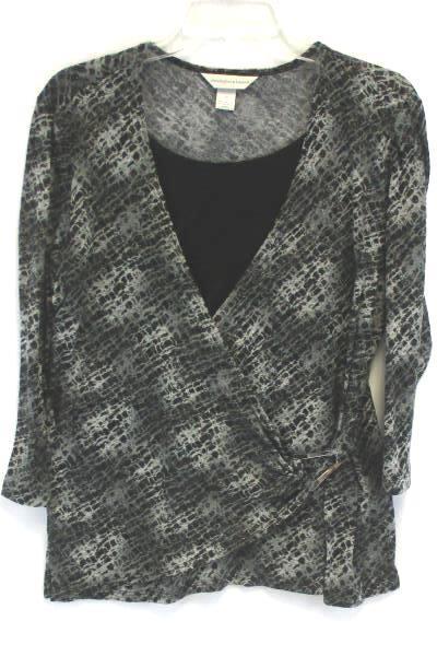 Women's CHRISTOPHER & BANKS Shirt Top Blouse Black & Gray Size Medium Faux Wrap