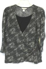 Women's CHRISTOPHER & BANKS Shirt Top Blouse Black & Gray Size Medium Faux Wrap
