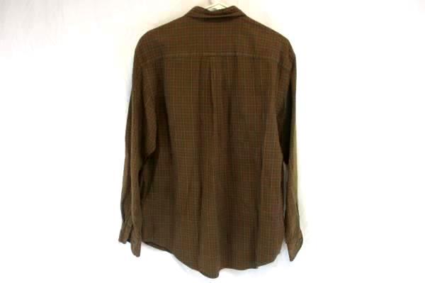 St. John's Bay Men's Dark Brown Plaid Button Up Long Sleeve Shirt Size Large