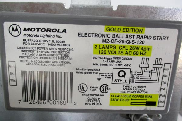Motorola Electronic Ballast Rapid Start Gold Edition 2 Lamps 120 Volts AC 60 HZ