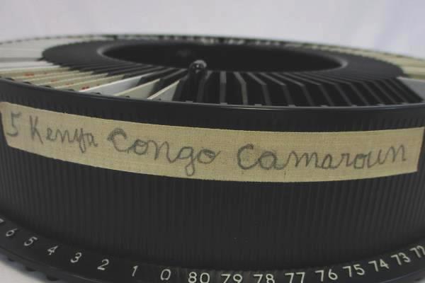 Vtg Kodak 80 Slide Carousel Tray w/ 62 Slides From Kenya, Congo, Camaroun 1966