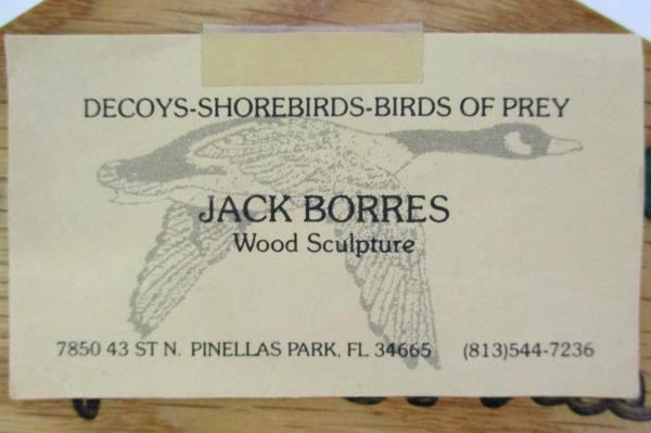 """Unique Wood Sculpted Bird Plaque Jack Borres Shore Birds """"Mallard Hen"""""""
