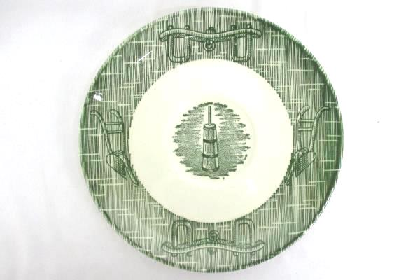 """Set Of 3 Green & White """"Old Fashioned"""" Theme Saucers 6"""" Replacements Dinnerware"""