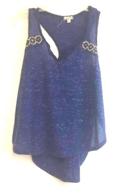 Tank Top by Eyeshadow Blue Beaded Pattern Women's Size Medium Polyester Blend