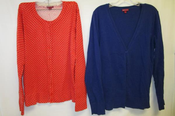 Lot of 2 Cardigan By Merona Blue Orange White Polka Dots Women's Size L